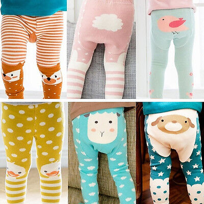 Baby Toddler Kids Cartoon Cotton Warm PP Pants Trousers Leggings Tights 0-4Years