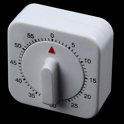 White Square 60-Minute Mechanical Timer Reminder Counting for Kitchen Novelty