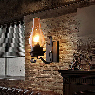 Vintage Rustic Single light Metal Wall Sconce with Glass Chimney Shade