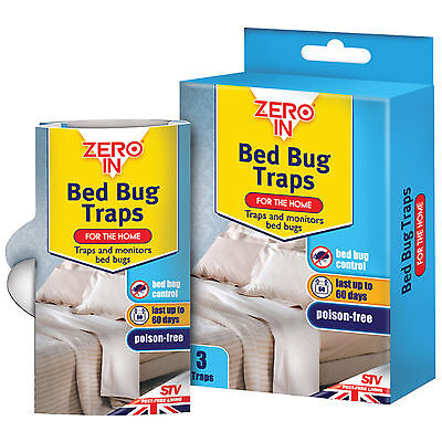 STV Zero In Bed Bug Traps Mattress Treatment Killer Home Pest Control Pack of 3