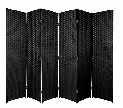 Black 6 Panel Solid Style Wicker Room Divider Hand Made Privacy Screen/Separator