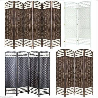 BLACK BROWN CREAM 4 Panel Solid Style Wicker Room Divider Hand Made Privacy S...