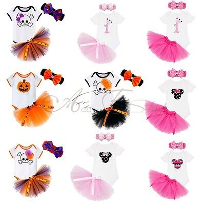 New Baby Girl Romper Tulle Tutu Skirt Headband Pumpkin Halloween Outfits Costume