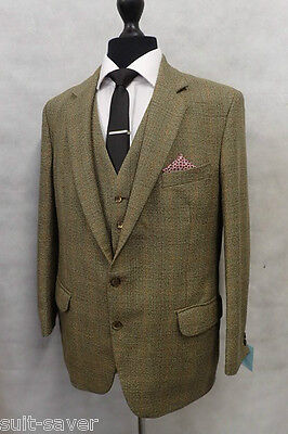 Men's Green Checked Hepworths Vintage Tweed 3 Piece Suit 40R W36 L28 MV9955