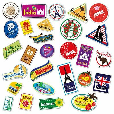 World Travel Locations Suitcase Stickers - Set of 28 Luggage Decal Labels