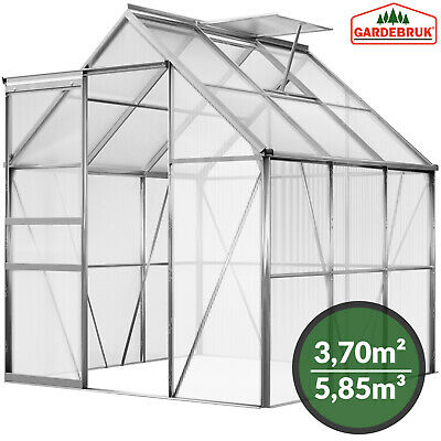 DEUBA Aluminium Greenhouse Polycarbonate Garden Sliding Door UV Safe Twin Wall