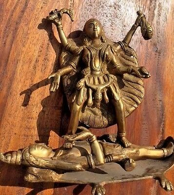 Bronze Kali Goddess Slaying God Death Tantric Statue