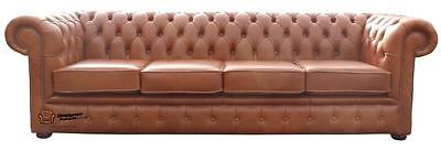 Chesterfield 4 Seater Old English Saddle Brown Leather Sofa Settee