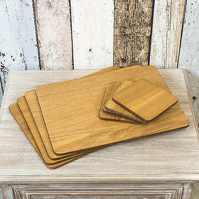 Set of 4 Brown Oak Veneer Wooden Placemats and Coasters Table Place Setting Mats