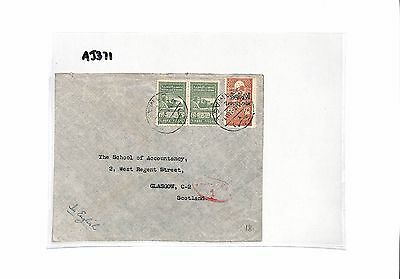 AJ371 1949 SYRIA Damascus to GB Scotland Cover. Fiscal stamps
