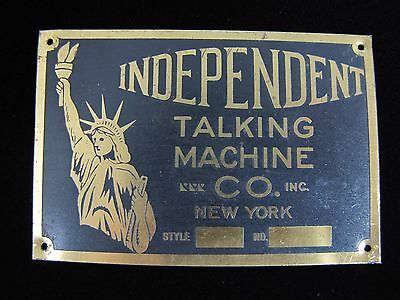 Antique Brass INDEPENDENT TALKING MACH CO NY Nameplate Small Sign Equipment Tag