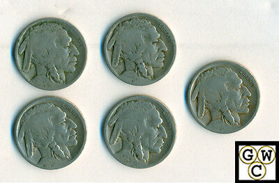 1920-D  Buffalo Nickels About Good-Good (Lot of 5 coins)
