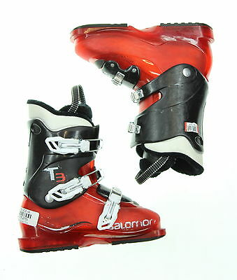 Used Salomon T3 Red and Black Ski Boots Kid's Size