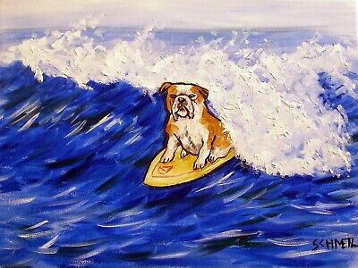Bulldog Surfing painting signed dog art  13x19 signed reproduction  glossy PRINT