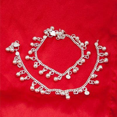Pakistani Indian Bollywood Silver Tone Payal Anklet Chain Pair with Loud Bells