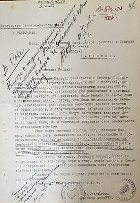 Kliment Voroshilov- Signed Russian Document from 1945