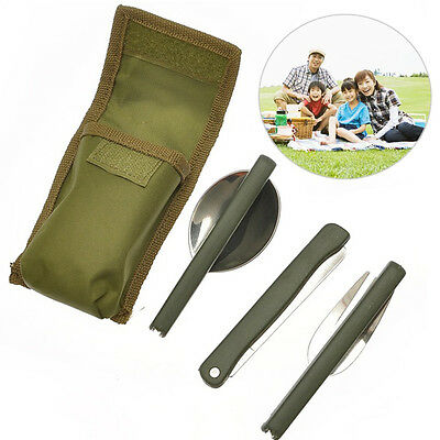 Portable Army Green Folding Cutlery Set with Pouch Cooking Survival Camping RI