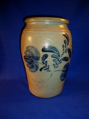 Circa 1860 Stoneware Jar with 3 Tulips, attributed to Boughner, Greensboro PA