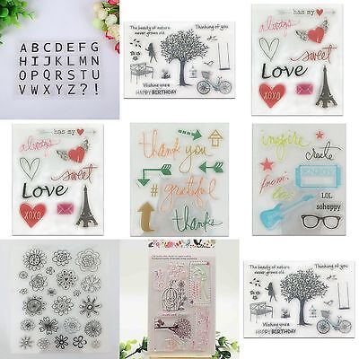 Alphabet Sheet Transparent Silicone Clear Stamp Cling Seal Scrapbooking DIY Gift