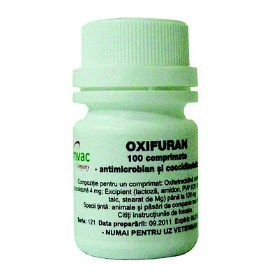 OXIFURAN 100 tablets Antimicrobian,coccidiostat,coccidiosis cage birds,dogs,cats