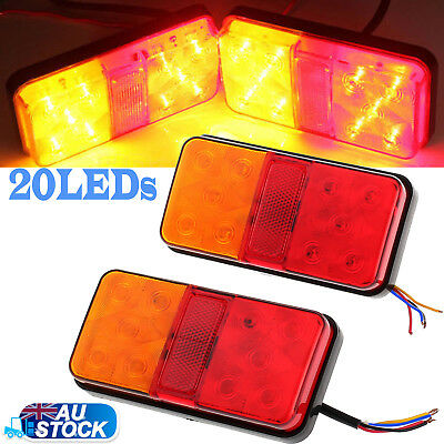 2x LED TAIL STOP BRAKE LIGHTS WATERPROOF TRAILER CARAVAN VANS BAR BRAND 12V