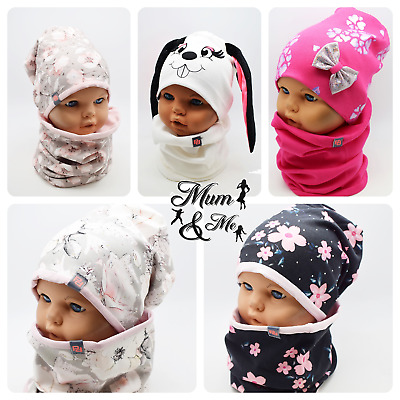 Girls Kids Hat With Tube Scarf Stretchy 2pcs set Cotton Spring Autumn Hat