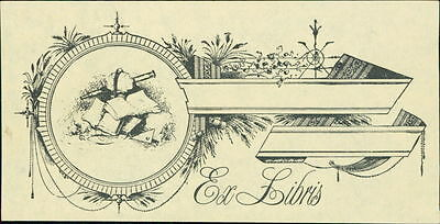 Decorative bookplate ex-libris unused JD.67