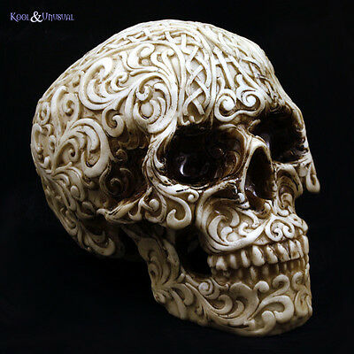 Creepy Gothic Realistic SOLID TRIBAL SKULL Figurine