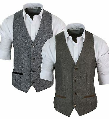 Mens Grey Black Tan Brown Herringbone Tweed Slim Fit Waistcoat Smart Casual