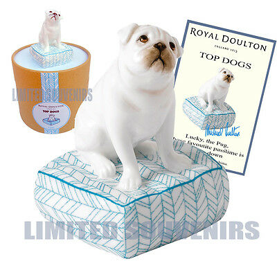 Royal Doulton Lucky Pug Top Dogs #4 New, Box COA Porcelain Figurine Mother's Day