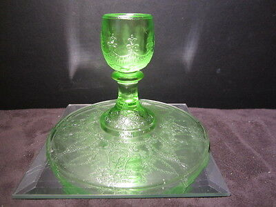 Htf Cameo Ballerina Green Depression Glass Candle Stick Holder