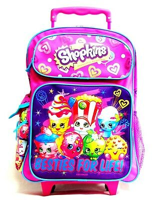 """Shopkins Small School Roller Backpack 12"""" Trolley Rolling Luggage Bag"""