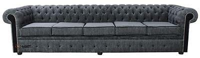 Chesterfield 5 Seater Settee Carlton Charcoal And Black Fabric Sofa Settee SS