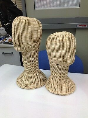 "12"",14"" Vintage Wicker Head Holder Wig Glass Hat Display Stand Rattan Natural"