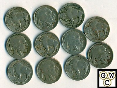 1913 Type-2  Buffalo Nickel Good-Very Fine (Lot of 11 coins)