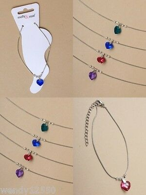 Pack Of 4 Snake Chain Anklets With Coloured Crystal Heart Charm : Sp-0062 Pk4