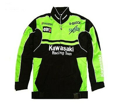 Kawasaki Racing Team Jacket Winter Windproof Motorcycle Bike Chopper Embroided