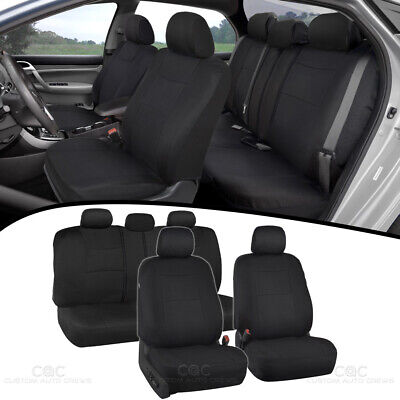 Car Seat Covers for Auto Solid Black 5 Head Rest Split Bench Air Bag Safe
