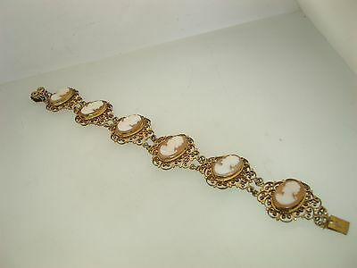 Beautiful Victorian 900 Silver Gold Washed Filigree Carved Shell Cameo Bracelet!