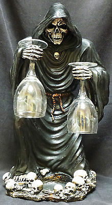 A TOAST for MORTALS Grim Reaper Skeleton Wine Holder w/ Glass statue Figure H18""