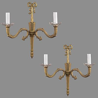 Brass Regency Brass Wall Sconces c1950 Vintage Antique French Style Lights