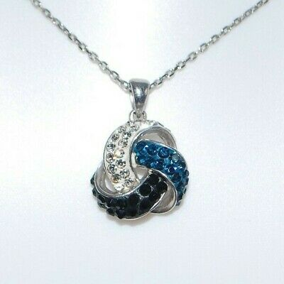 "Sterling Silver Pendant w/ Blue White Black Crystals & 16"" Chain"