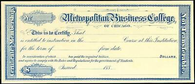 Metropolitan Business College Of Chicago Certificate Of Membership Bt2755