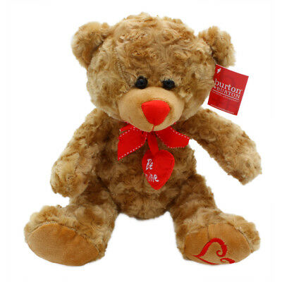 """10"""" Plush Brown Be Mine Teddy Bear with Heart on Foot"""