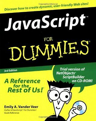 Javascript For Dummies by Vander Veer, Emily A. Mixed media product Book The
