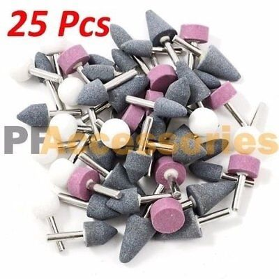 "25 Pcs 1/8"" inch Assorted Mounted Stone Point Abrasive Grinding Wheel Bit Set"
