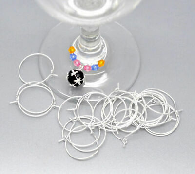 200pcs Wine Glass Charm Rings /Earring Hoops Wedding Hen Party 20mm