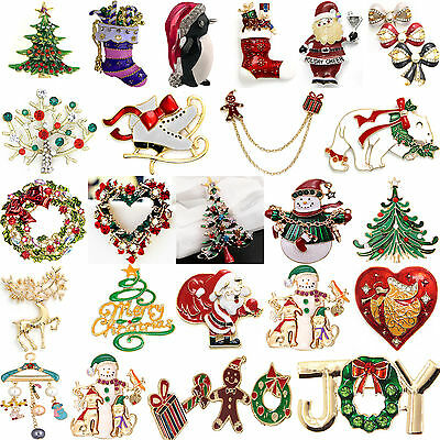 Various Unisex Xmas Santa Claus Brooch Pin Jewelry Christmas Wedding Party Gifts