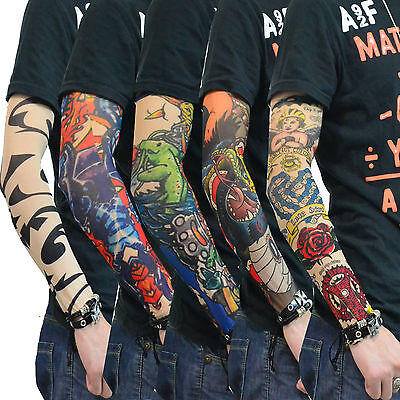 50 Pairs/Lot Fashion Tatoo Sleeves Tattoo Arm Stockings Temporary Tattoos Sleeve