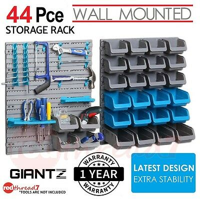 Wall Mounted Storage 44 Bin Rack Parts Nuts Garage Unit Shelving Organiser Boxes